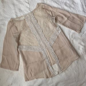 Cream Lace-Back Blouse